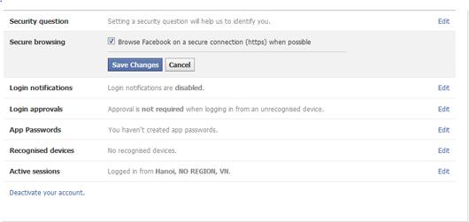 Kích hoạt HTTPS trên Facebook.com