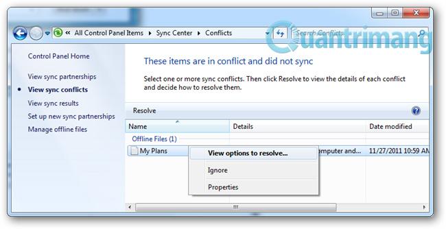 Thiết lập Offline Files: Giải quyết các xung đột