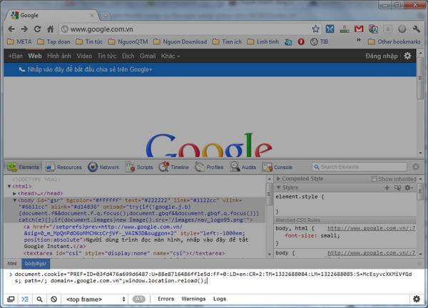 Chuyển thanh công cụ Google sang chiều dọc