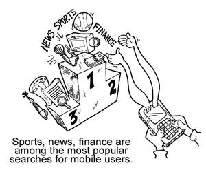các lĩnh vực chủ yếu được tìm kiếm trên Mobile
