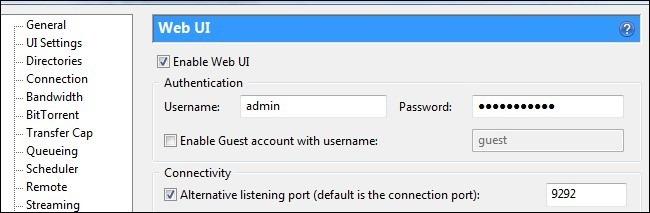 kích hoạt Web UI trong uTorrent
