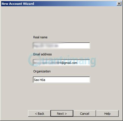 nhập Real name, Email address và Organization