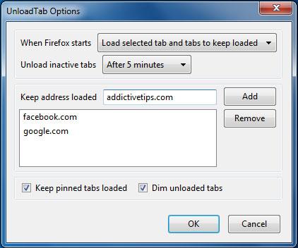 Ngừng tải trang để tiết kiệm bộ nhớ trên Firefox