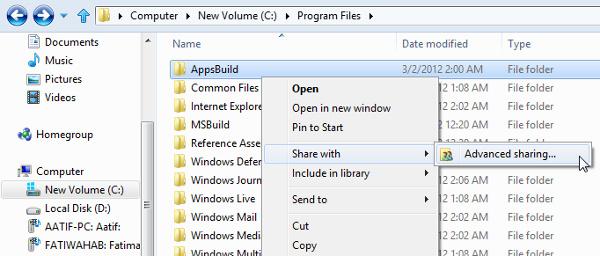 Chia sẻ người dùng và thư mục trên mạng LAN trong Windows 8