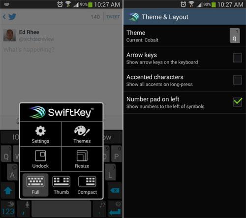 Cách di chuyển các phím số SwiftKey về bên trái
