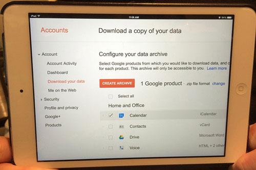 Đã có thể tải về dữ liệu Gmail, Google Calendar