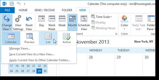 Thêm và hủy bỏ ngày nghỉ vào Lịch trong Outlook 2013