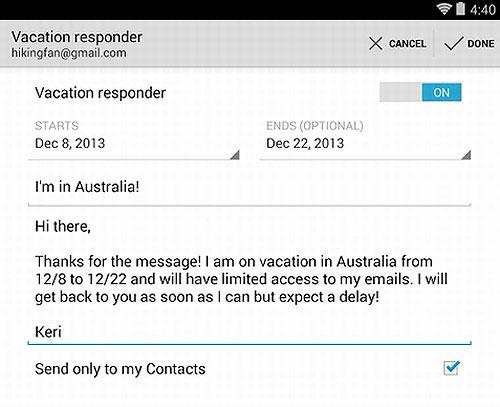 Gmail 4.7 có thể trả lời tự động, đính kèm mọi tệp tin