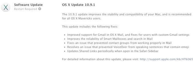 Apple phát hành OS X 10.9.1 với những cải tiến liên quan đến Mail