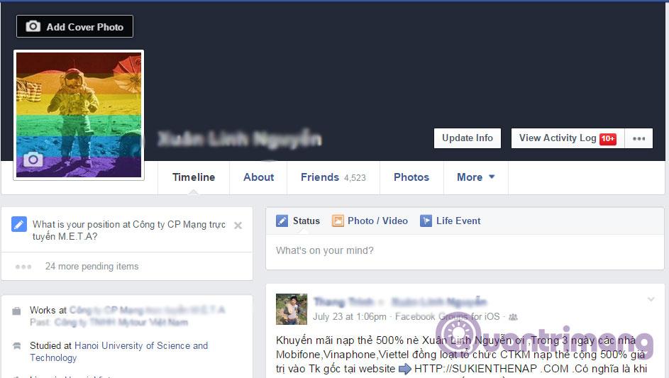 Làm thế nào để thay đổi ảnh bìa của Facebook?