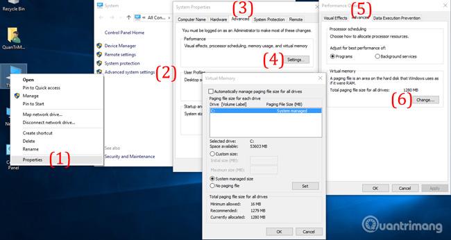 Thiết lập RAM ảo cho Windows 10