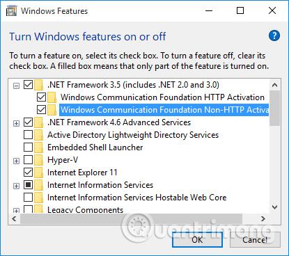 tích vào các ô .NET FrameWork