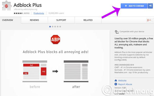 Tiện ích AdBlock trên cửa hàng Chrome