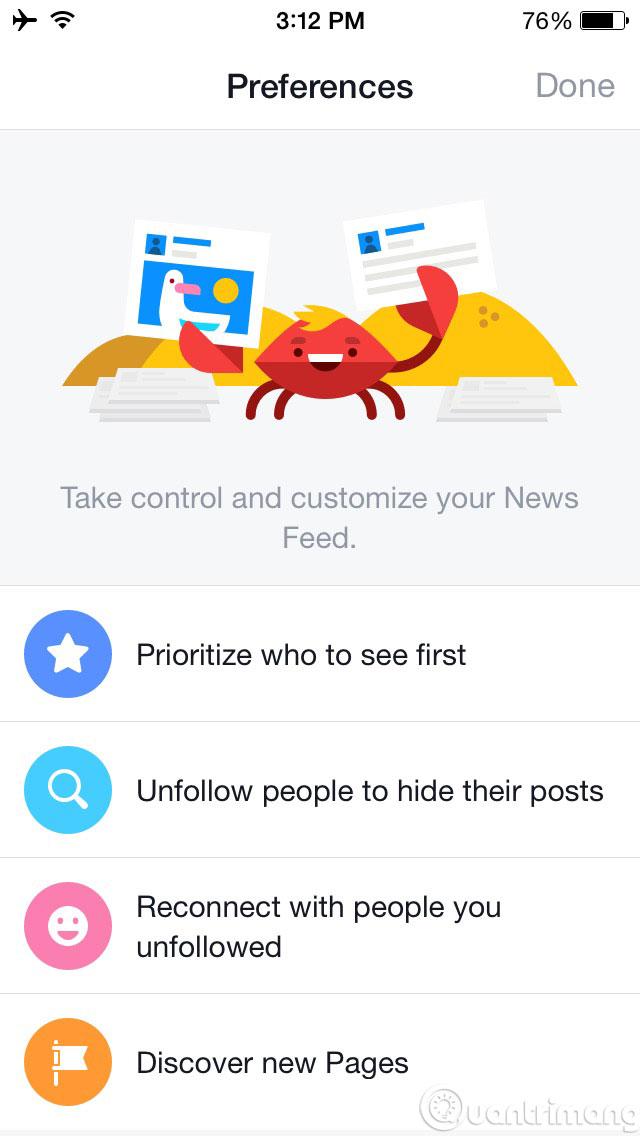 Làm thế nào để thay đổi thông tin trên News Feed của mình trên iOS?