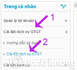 Cài đặt dịch vụ GTGT
