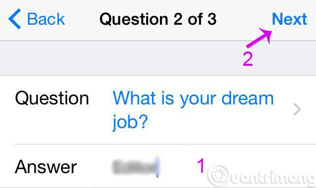 Câu hỏi bí mật 2