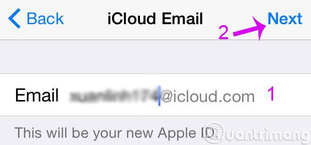 Đặt tên tài khoản iCloud