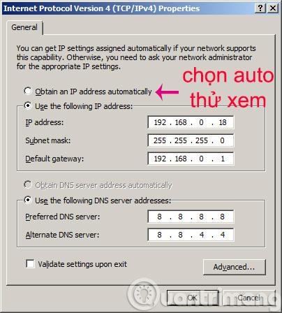 đặt lại địa chỉ IP
