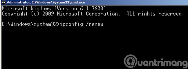 Gõ lệnh ipconfig /renew