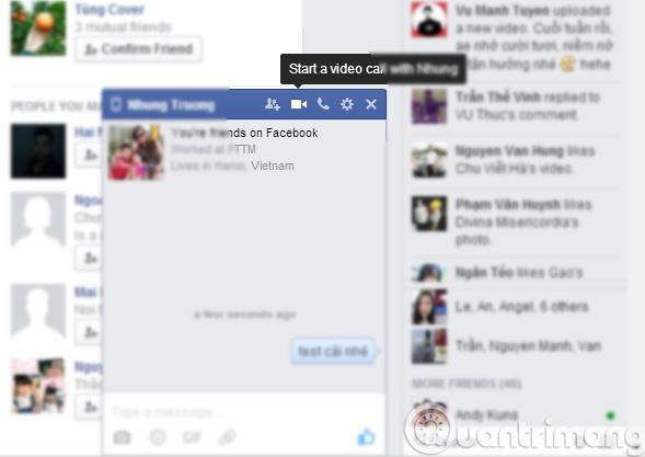 Tài khoản này có thể gọi Video Facebook