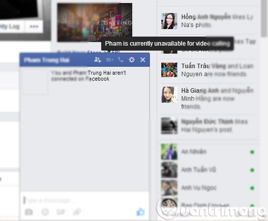 Không gọi được Video Facebook