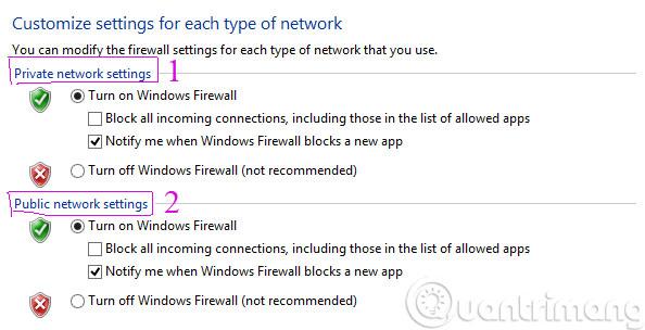 Thiết lập Firewall cho cả 2 chế độ Private và Public