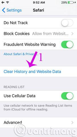 Cách xóa lịch sử duyệt web trên iOS9