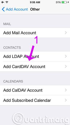 Click Add CardDAV Account