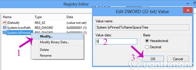 Đổi giá trị Value data về 0