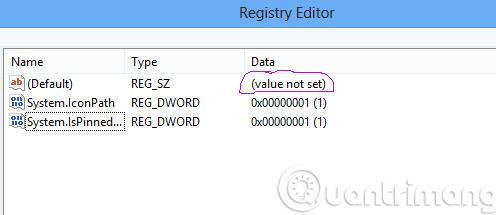 Cột Data của khóa Default
