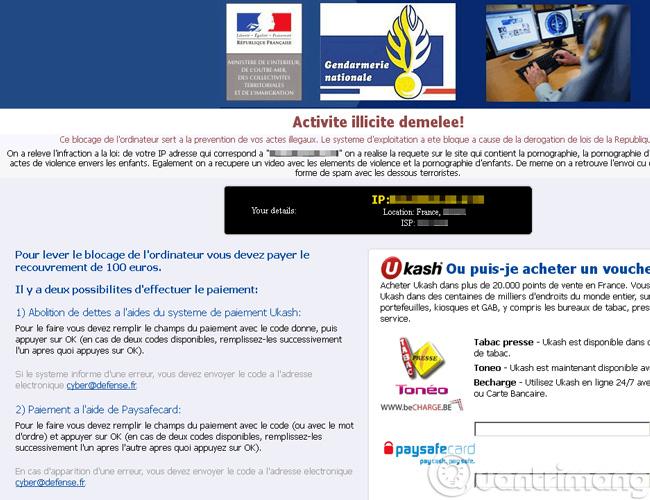 Thông báo đòi tiền của Ransomware bằng tiếng Pháp