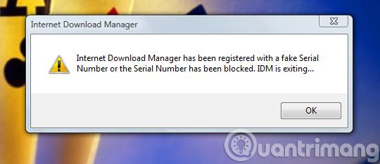 internet download manager has been registered with a fake serial number popup