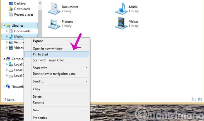 Pin thư mục vào Start Screen