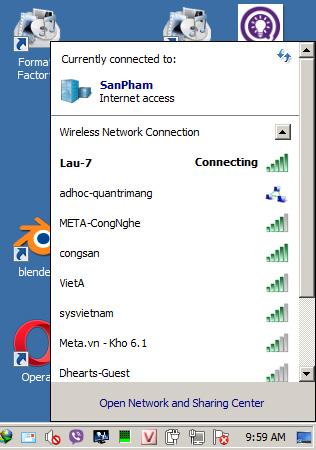 Trang thái WiFi đang bật