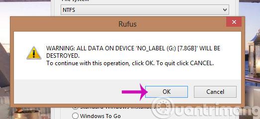 Hộp thoại cảnh báo format USB