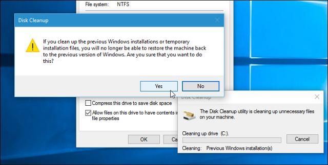 Cách lấy lại 20GB dung lượng sau cập nhật Windows 10 November