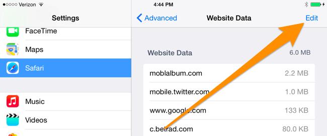 Xóa Cookies/ Cache trình duyệt Web trên iPhone, iPad