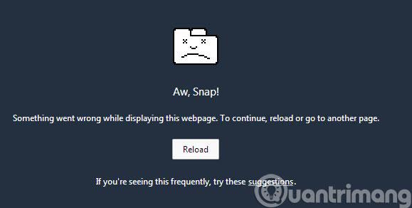 Thông báo lỗi Aw Snap