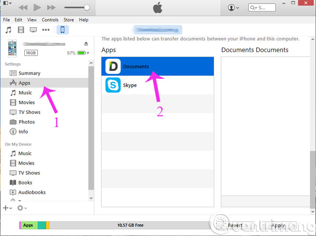 Chọn Documents