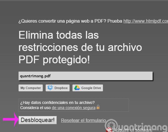 Công cụ PDFUnlock