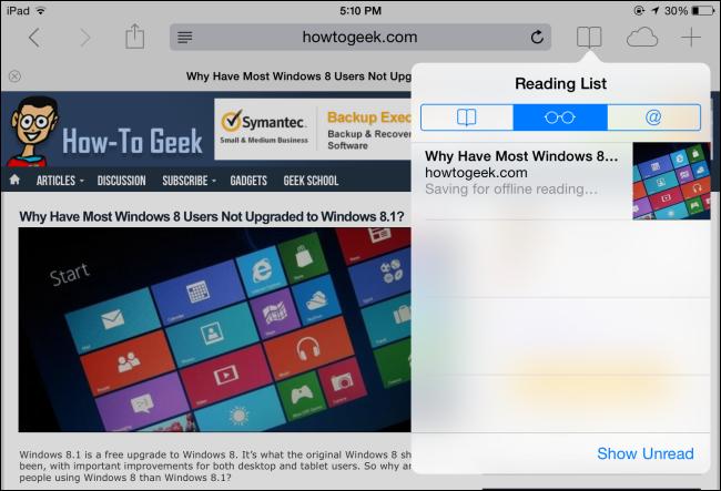Xóa trang web trong reading list