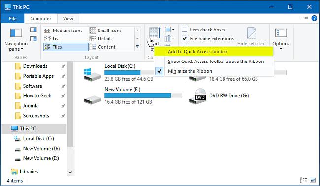 Tìm hiểu về thanh công cụ Quick Access Toolbar trên Windows 10