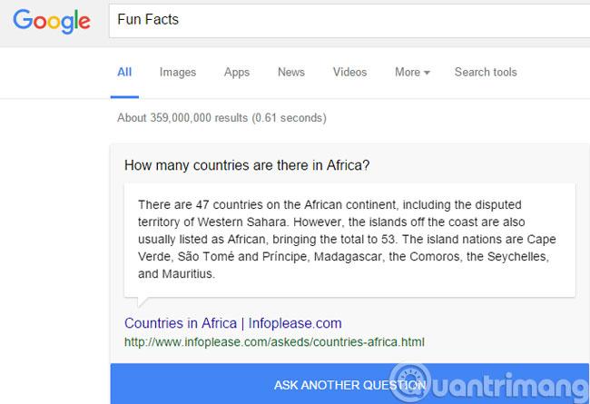 Nhận thông tin thú vị với Fun Facts