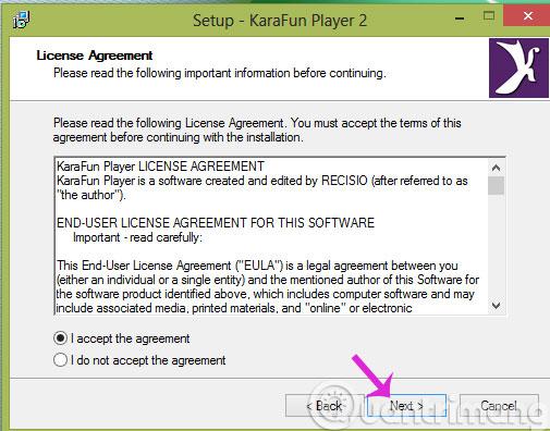 Đồng ý các điều khoản của phần mềm
