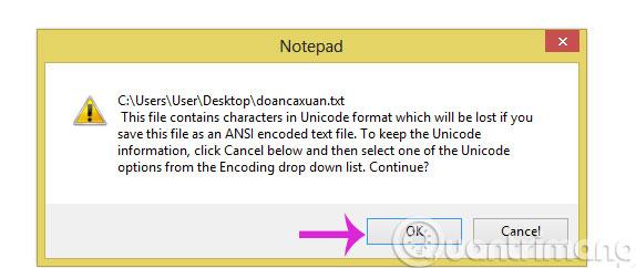 Thông báo lỗi khi lưu tiếng Việt trong Notepad