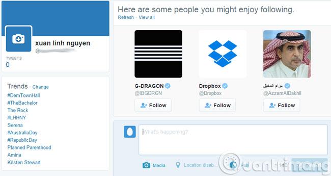 Giao diện chính của Twitter