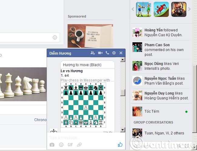 Cách đơn giản để chơi cờ vua trên Facebook Messenger