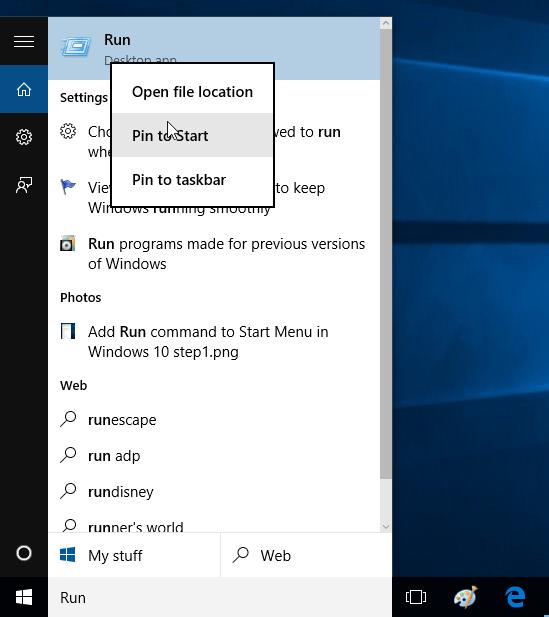 Thủ thuật ghim lệnh Run vào Start Menu và Taskbar trên Windows 10