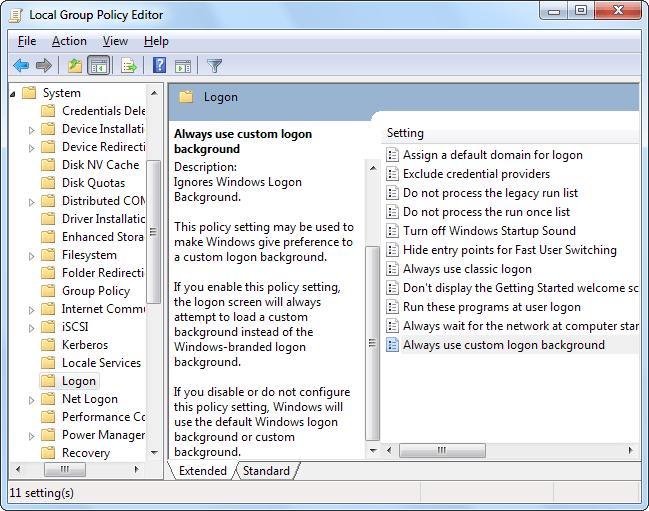 Thay đổi nền màn hình Logon Windows 7,8 và 10