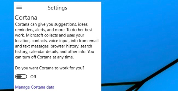 tùy chọn Do you want Cortana to work for you
